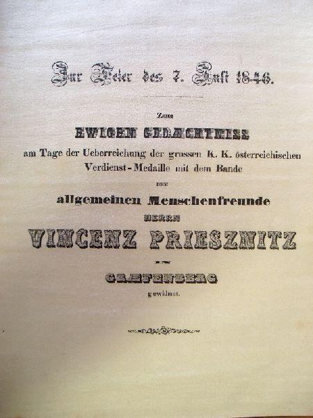 Priessnitz Vinzenz: Oslavná báseň na mušelínu 1846.