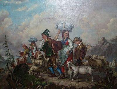 Pastevecká rodina v Alpách