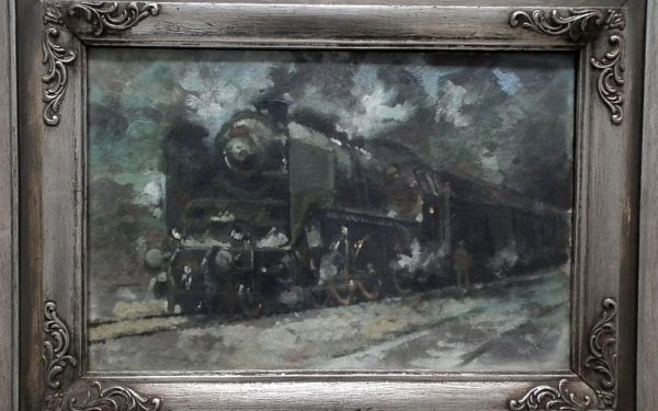 Jaroslav Ronek: Parní lokomotiva s osobním vlakem.