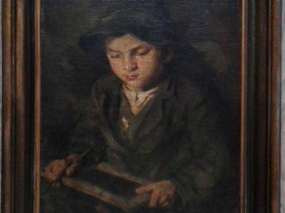Jan Kojan: Chlapec s psací tabulkou - rám
