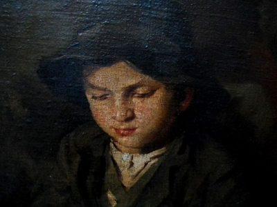 Jan Kojan: Chlapec s psací tabulkou - detail