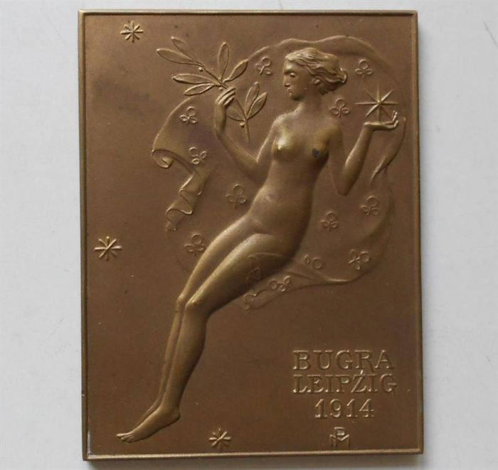 Michael Powolny – Plaketa bronz 1914.  Provedení WIENER WERKSTATTE. Velmi vzácné.