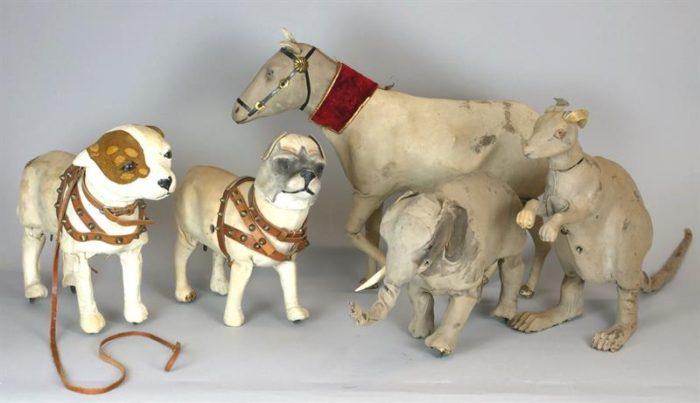 Unikátní mechanické hračky cca 100 let (pět kusů)